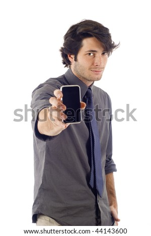 business man showing his smartphone pda isolated over a white background - stock photo