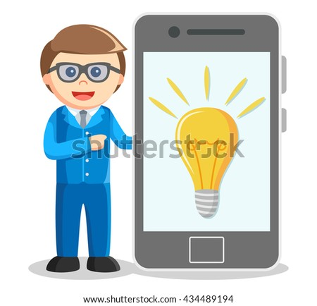 Business man showing idea from smartphone - stock photo