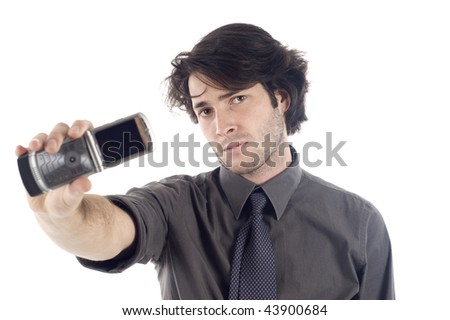 Business man showing mobile phone isolated over a white background