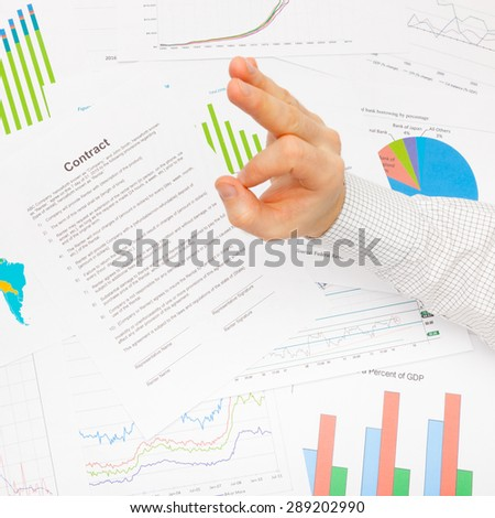 Business man showing OK sign - close up - stock photo