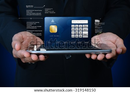 Business man showing smart card with smart phone - stock photo