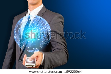 business man showing sphere of global network connection