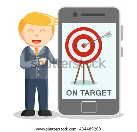 Business man showing target from smartphone - stock photo