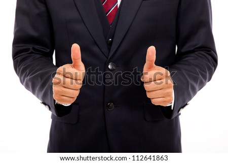 Business man showing thumb isolated white background.
