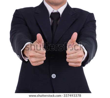 business man showing thumbs up gesture isolated on white background - stock photo