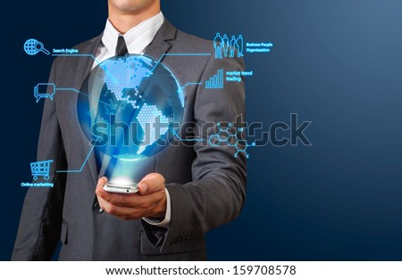 business man showing transparency globe with hexagonal dot texture