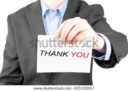 business man sign thank you