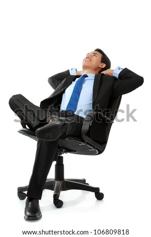 business man sitting and relaxing on chair - Isolated on white