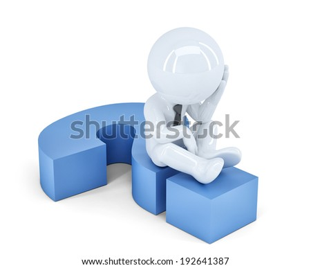 Business man sitting on a question mark. Business concept. Isolated.