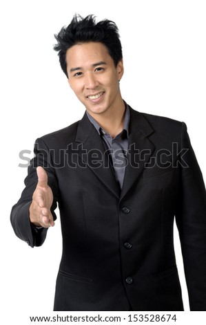 Business man smile and shook hands isolated