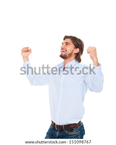 business man smile hold fist ok yes gesture, successful excited happy young businessman raised hands arms looking side up to empty copy space, wear blue shirt isolated over white background