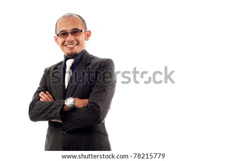 Business man smile with confident isolated white background - stock photo