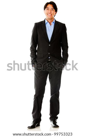 Business man smiling - isolated over a white background