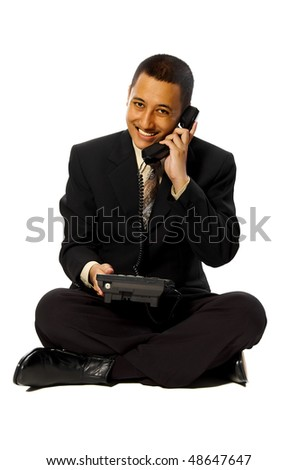 Business man smiling on the phone isolated on white background - stock photo