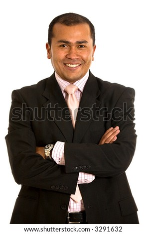 business man smiling - portrait isolated over a white background - stock photo
