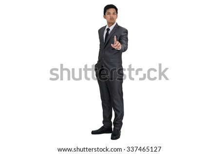 Business man standing and pointing action
