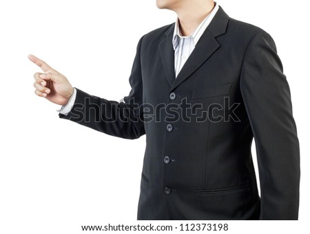 business man standing and presents on white background - stock photo