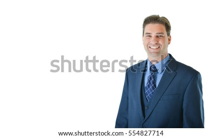 Business man standing and smiling