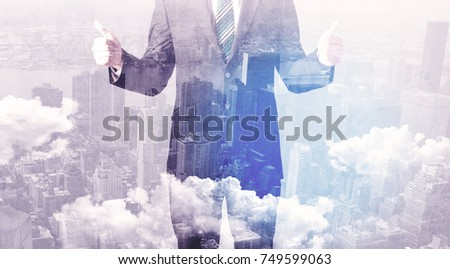 Business man standing at city overlay view background