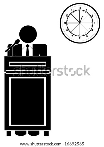 business man standing at podium with clock - long speech or presentation