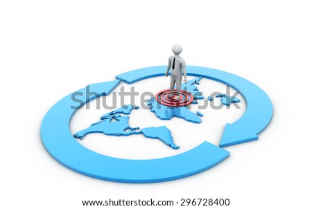 Business man standing on target sign - stock photo