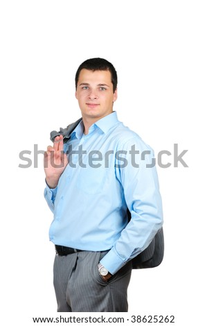 Business man standing over white background