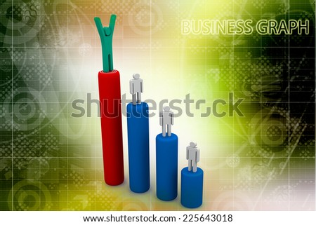 Business man standing with arms wide open on top of growth business red graph with target over white background, business concept - stock photo