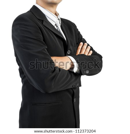 business man standing with confidence on white background - stock photo