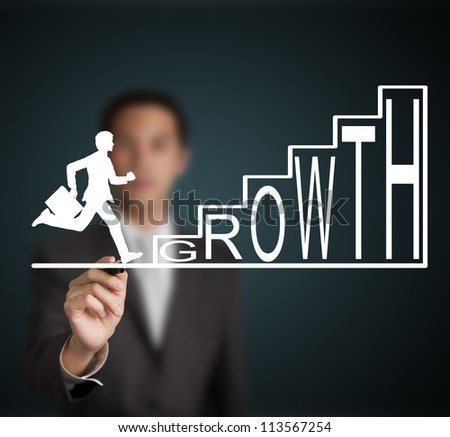 business man start to run and climb up  growth stair figure drawn by a businessman - stock photo