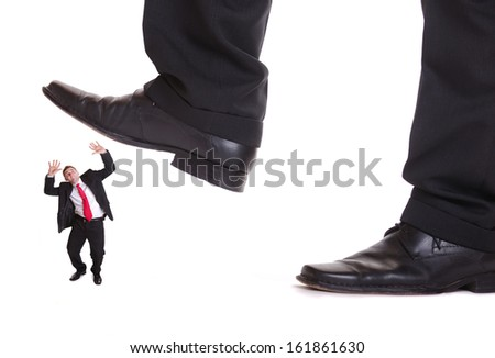 Business man steping on a fear man, business concept , isolated on white background