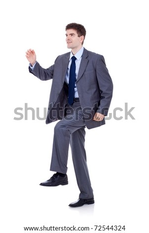 business man stepping up against a white background