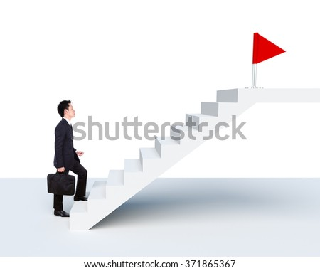 Business man stepping up on stairs to red flag (business success concept) isolated on white background