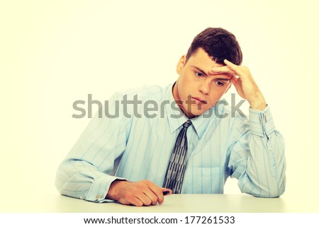 Business man stress or depression isolated on white background