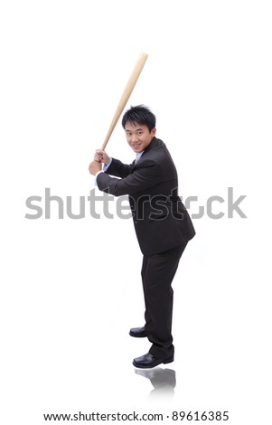 Business man take baseball bat with friendly smile ready for a good hit - stock photo