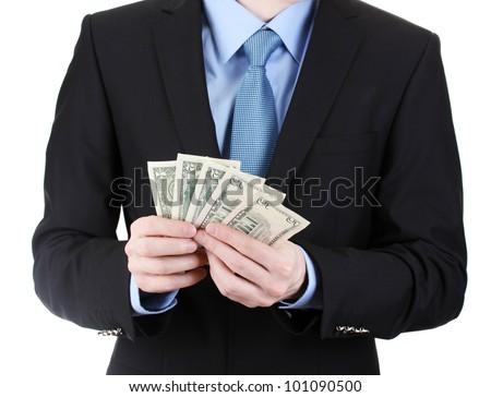 business man taking money isolated on white - stock photo