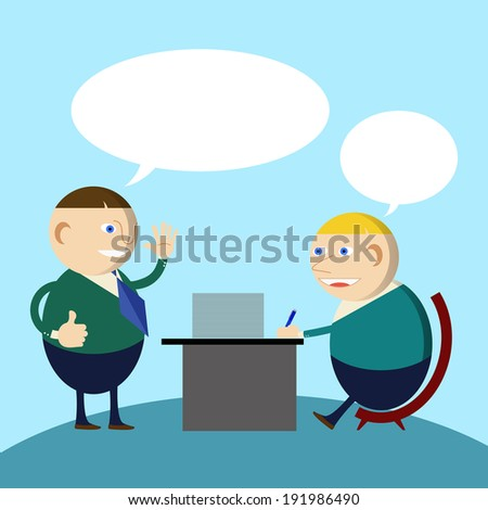business man  talking and working - stock photo