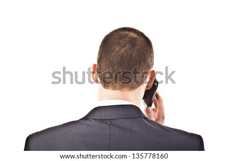 business man talking on a mobile phone  isolated on white background - stock photo