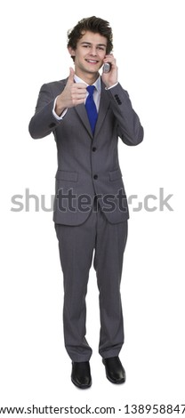 Business Man Talking On Phone Showing Thumb Up Sign Isolated Over White Background