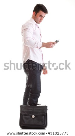 Business man talking on the phone over white