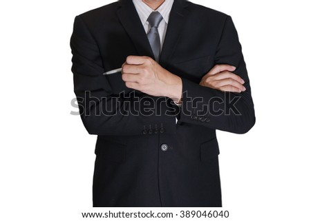 Business man think idea on white background as vision of leader concept.