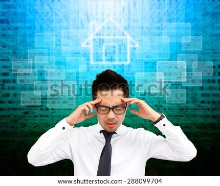 Business man thinking an imaginary screen. - stock photo