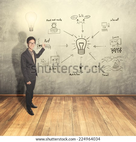 Business man thinking idea writing creative chart on wall - stock photo