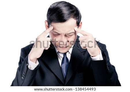 business man thinking serious isolated over white background