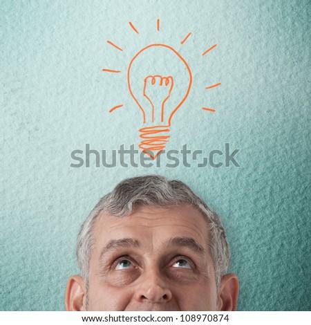 Business man thinking to creative idea - stock photo