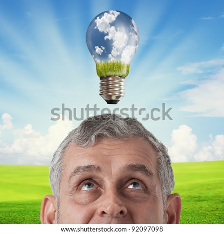 Business man thinking to green concept, Eco, Saving earth - stock photo