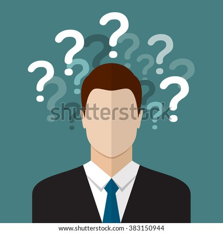 Business man thinking with question marks. Flat style design - stock photo