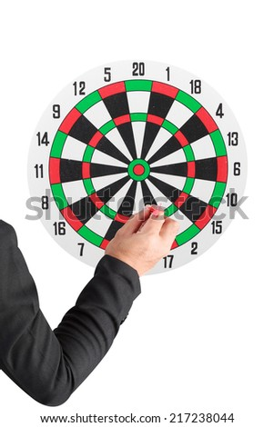 business man throwing darts at dart board isolated on white background with clipping path - stock photo