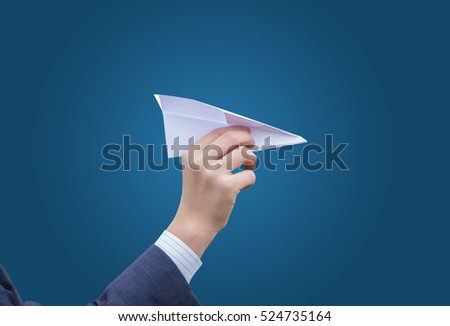Business man throws a paper plane. Concept of transfer of communication message.