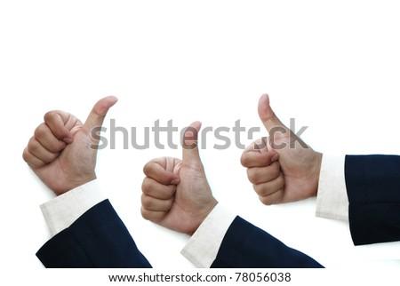 business man thumb up isolated on white background - stock photo