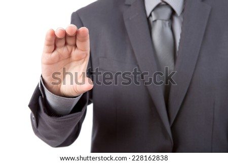 Business man to hold business card ,credit card,blank paper or other isolated on white background - stock photo